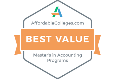 Affordable Colleges Best Value Masters in Accounting Badge