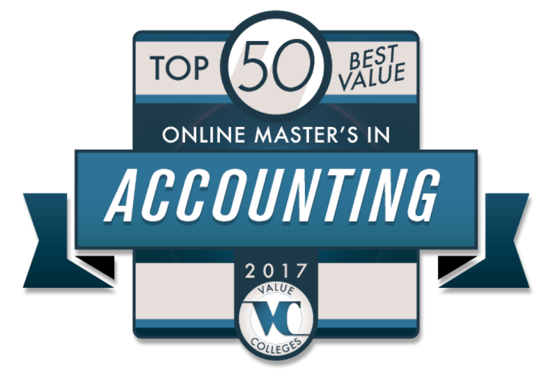 Top 50 Online Masters in Accounting Valuecolleges Badge