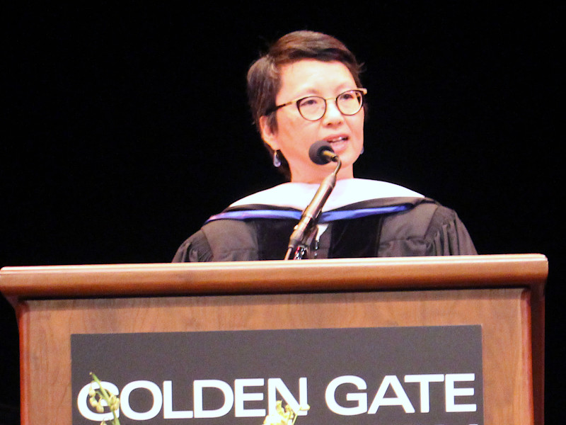 Van Ton-Quinlivan delivering the keynote address at the recent Golden Gate University Graduate Commencement in San Francisco.