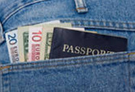 Passport and currency in back pocket